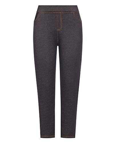 Kendindza Damen Thermo-Leggings Jeans-Look gefüttert mit Innen-Fleece Basic Winter Blickdicht (Schwarz, XXXL)
