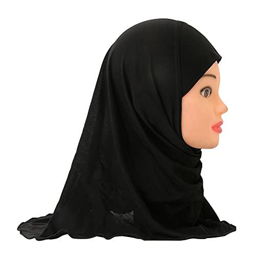 GuanXiao Muchachas Musulmanes instantánea Bufanda del Hijab islámico niños Turbante Pañuelo Abrigo de la Cabeza Chales Suave Estirable Kid Abaya Burka for niños Turbante Tradicional de Las Mujeres