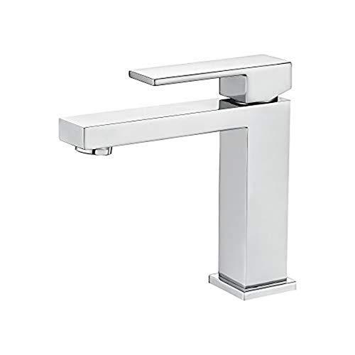 IBERGRIF M11005, Bad Wasserhahn, Eckig Waschtischarmatur mit Komfort Auslauf Höhe, Chrom, Silber