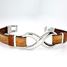 Pulsera Infinito plata y acero inoxidable, N2, brazalete de cuero marrón, pulsera cuero hombre, accesorios de cuero ...