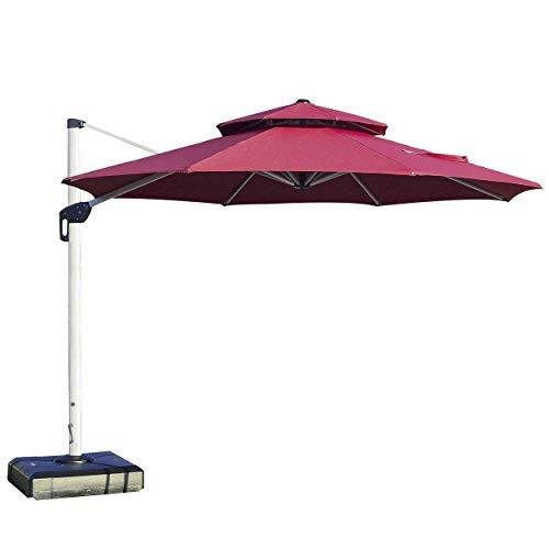 PURPLE LEAF 11 Feet Double Top Deluxe Patio Umbrella Offset Hanging Umbrella Outdoor Market Umbrella Garden Umbrella, Dark Red