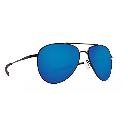 Costa Del Mar Men's Cook Aviator Sunglasses, Satin Black/Blue Mirror-580P, 60 mm