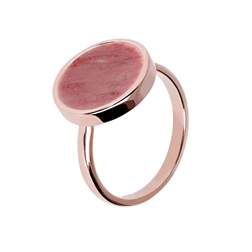 Bronzallure Bague Disc Red Fossil Wood - 54