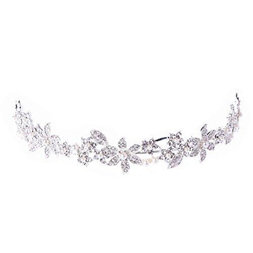 Qiuxiaoaa Haarkrone Topper-Braut Hochzeit Tiara Crown Faux Perle Strass Haarband Stirnband Prom