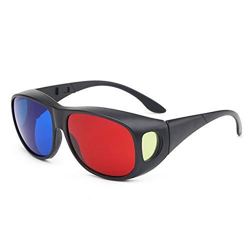 YHXUANTE 3D-Brille Für Anaglyph Movie Game DVD Brillen Black Frame Rot Blau Anaglyphenbrille, DVD/Vision/TV/Film/Spiele Unisex Mann Frau, 3D-Aufsatz Für Brillenträger