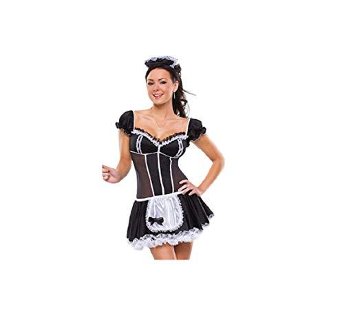 GGT- boetiek sexy victoriaanse frans meid cosplay halloween fancy jurk partij kostuum, One Size 6-8, Zwart en Wit