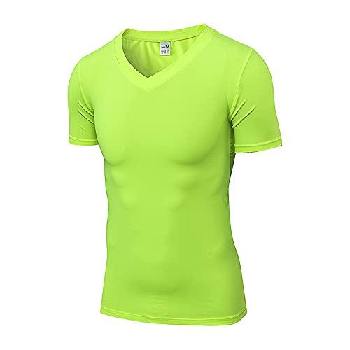 DaDuo T-Shirt Uomo Scollo V Slim Fit Basic Shirt Uomo Estate Fitness Allenamento Funzionale Shirt Uomo Tinta Unita Maniche Corte Tops Uomo Leggera Asciugatura Rapida Maglietta Uomo