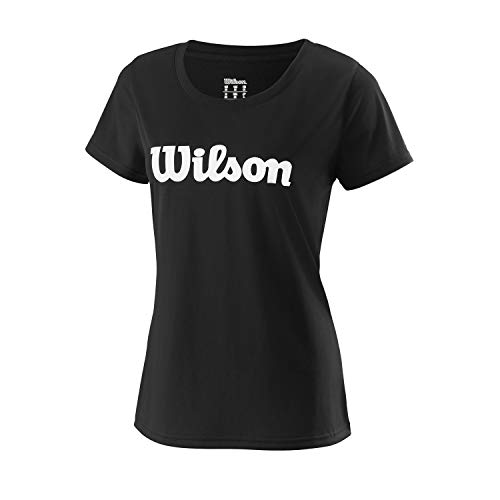 Wilson Mujer, W UWII SCRIPT TECH TEE, Camiseta de tenis manga corta, Poliéster, Negro/Blanco, Talla XL, WRA770507