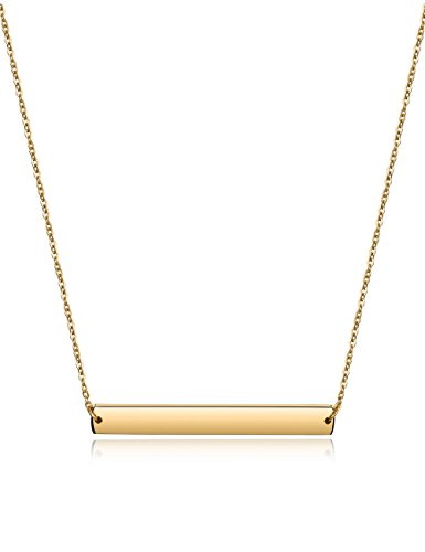 Bar Necklace Stainless Steel Gold Plated Adjustable with Engravable Bar Pendant(16Inch+2)