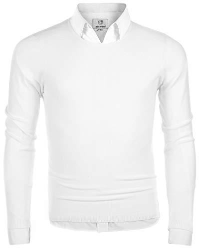 MOCOTONO Men's Long Sleeve Crew Neck Pullover Knit Sweater White Medium