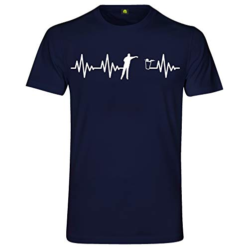 Herzschlag Bier Pong T-Shirt | EKG | Bierpong | Beer | Beerpong | Party Alkohol Navy Blau S