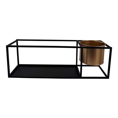 Housevitamin wandrek/wandplank - zwart metaal - met gouden pot
