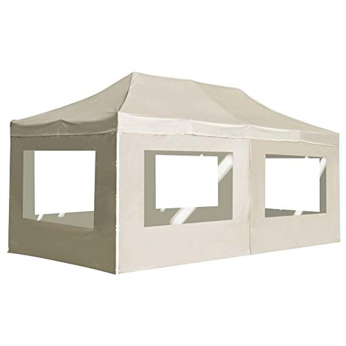 Party Tents,6x3m Folding Pop-up Party Tent UV Protection Waterproof Canopy Wedding Party Tent Garden Gazebo Instant Sun Shelter Patio Wall Awning with Walls for Camping Picnics Outdoor Cream