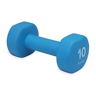 Gaiam Neoprene Hand Weight, Blue, 10 lb