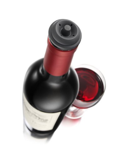Vacu Vin Wine Saver Pump, Black with 6 Vacuum Bottle Stoppers