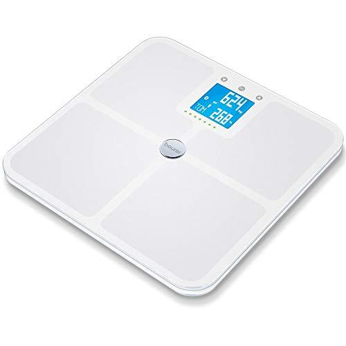 Beurer BF 950 White Diagnosewaage, Messung von Körperfett, Körperwasser, Muskelanteil und Knochenmasse, Berechnung von Kalorienbedarf und BMI, inklusive App-Anbindung mit zertifiziertem Datenschutz