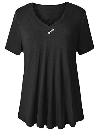 U.Vomade Women's Plus Size Tunics Short Sleeve Shirts Flowy Casual Tunic Tops Solid Black 1X