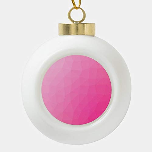 Christmas Ball Ornaments, Cute Girly Pink Low Poly Modern Abstract Origami Ceramic Ball Christmas Ornament, Shatterproof Christmas Decorations Tree Balls for Holiday Wedding Party Decoration