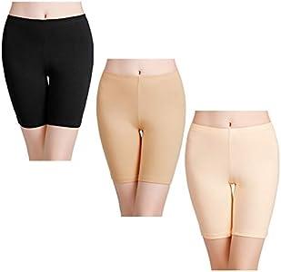 wirarpa Shorts Leggings Pantalones Cortos Algodon Mujer Verano 3 Pack Cintura Alta Bragas Seguridad Boxer Mujer Talla:L (negro, Beige, Caqui)