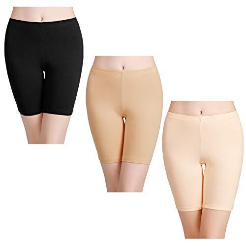 wirarpa Boxershorts Damen 3er Pack Lang Baumwolle Unterwäsche Weich Panties Hosen Unter Kleid Größe M
