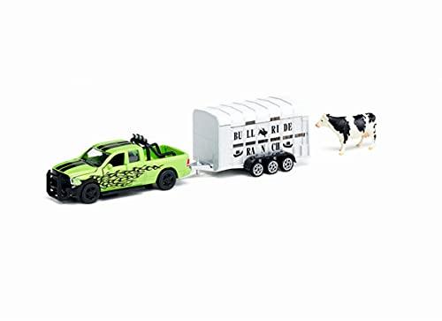 siku 1998 Dodge RAM 1500 con remolque para ganado Ifor-Williams, Incl. vaca de juguete, Apto para modelos siku misma escala, 1:50, Metal/Plástico, Verde/Plateado