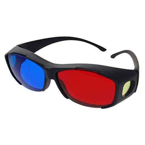 Othmro Red-Blue 3D Glasses Black Plastic Big Frame Resin Lens Simple Style 3D Movie Game Red-Cyan Anaglyph 1Pcs
