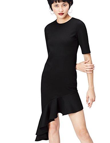 Amazon-Marke: find. Damen Kleid mit asymmetrischem Rüschensaum, Schwarz, 38, Label: M