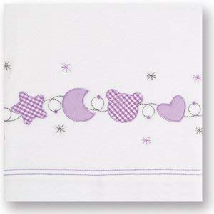 Pirulos 68103621 - Sábanas mini 50 x 80, ornamental, color blanco y lila