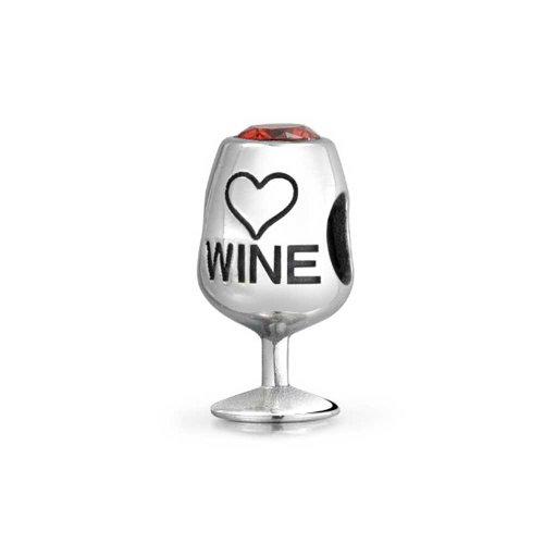 Sommelier Stem Red Wine Glass Drinker Goblet Cubic Zirconia Bead Charm For Women Sterling Silver For European Bracelet