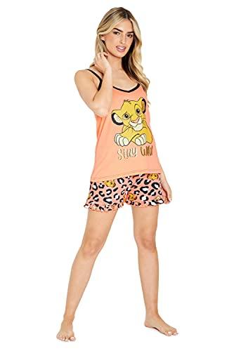 Disney Pigiama Donna, Pigiami Estivi in Cotone, Pigiama Corto Due Pezzi del Re Leone con Top E Pantaloncini, S - XL (Albicocca, L)