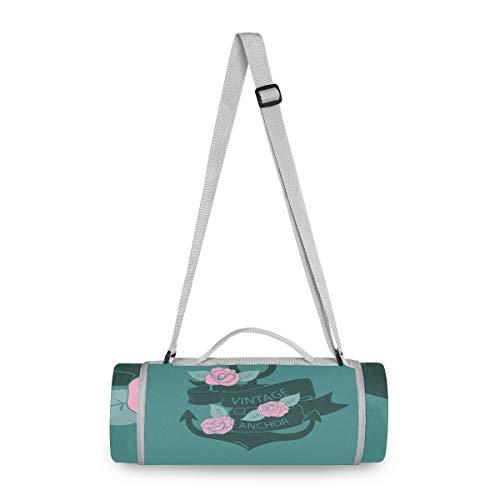 LORONA Anker mit Rosen Picknickdecke Runde Tasche Handliche Matte Mehltaubeständige und wasserdichte Campingmatte für Picknicks, Strände, Wandern, Reisen, Wohnmobile und Ausflüge