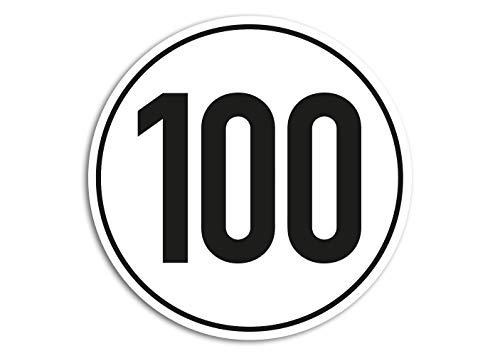 Sticker 100 km/u voor aanhangers van bromfiets camper trailer Vespa 10 cm weerbestendig