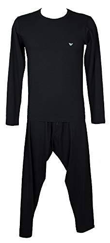 Emporio Armani Pigiama Uomo Manica Lunga Pantalone circasso Lungo Girocollo Cotone e Modal Articolo 111287+111008 4A564, 00135 Marine, M