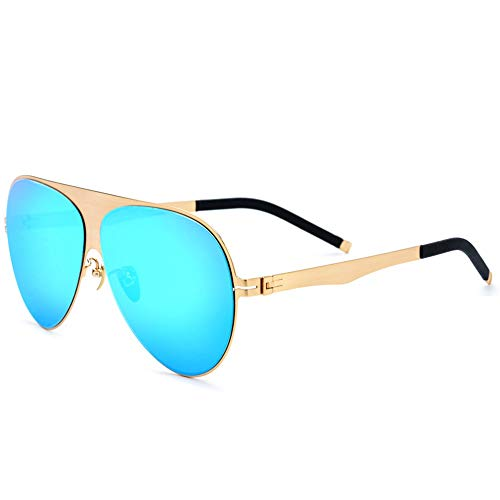 DKee Gafas de Sol Gafas De Aleación De Titanio Ultraligero Gafas De Sol Polarizadas for Hombre Oro De Borde Grande Gafas De Moda Protección UV400 (Color : Blue)