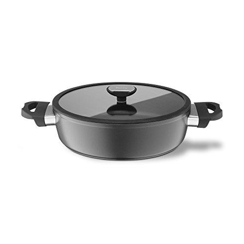 Berndes 021265 Balance Induction Aluminium Schmorkasserolle antihaft mit Glasdeckel 24 cm, 2,25 l