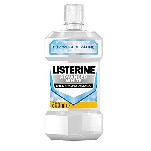 LISTERINE Advanced White milder Geschmack (600 ml), Mundspülungzur Entfernung hartnäckiger Zahnverfärbungen, für weißereZähne in nur 1 Woche