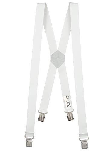 Xeira X-Design Hosenträger 4 sehr starken Klips für Herren und Damen (110cm Standard, Weiß)