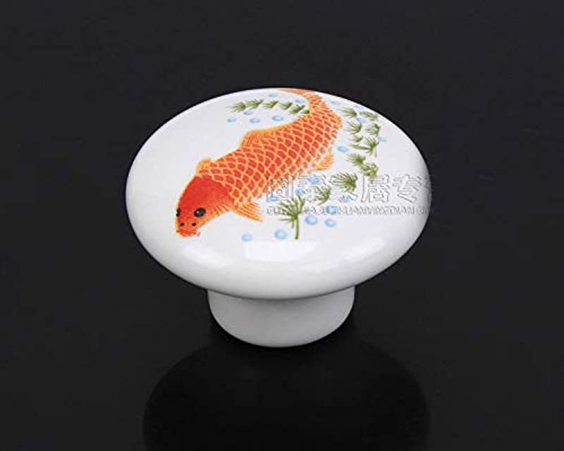 Sala Fnt Fish Printed Ceramic Door Knob For Cupboard Cabinet Bathroom Drawer Great Furniture Ornaments For Nursery Baby Room