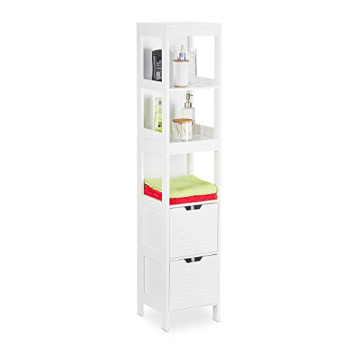 Relaxdays Badezimmerschrank, Landhausstil, HBT: 144 x 30 x 30 cm, 2 Schubladen, 3 Ablagen, freistehend, Badregal, weiß
