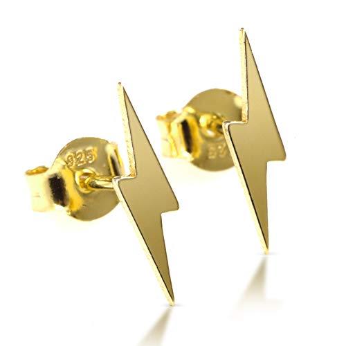 Pendientes rayo dorado, pendientes con energía para mujer en Plata de ley 929, bañado en oro. Entregado en original caja madera