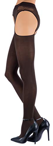Trasparenze Strip-Panty CORTINA, Strapsstrumpfhose, blickdicht (1-2 (S-M), marone)