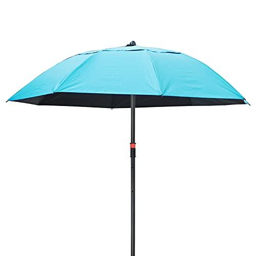 Playa Patio Paraguas de mercado al aire libre Orientable UPF 50+ Protección Sombrilla impermeable 5.3 pies con enchufe de tierra para jardín al aire libre Piscina Pesca Ocio