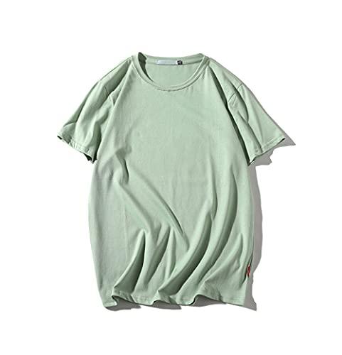 Hombres Manga Corta Verano Básico Color Sólido Cuello Redondo Hombres Shirt Deportiva Casual Transpirable Suelta Cómoda Shirt Correr Todo-Fósforo Simplicidad Camiseta Hombres D-Green 2 3XL