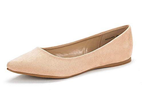 DREAM PAIRS Sole Classic Women's Casual Pointed Toe Ballet Comfort Soft Slip On Flats Shoes Nude Suede Size 10