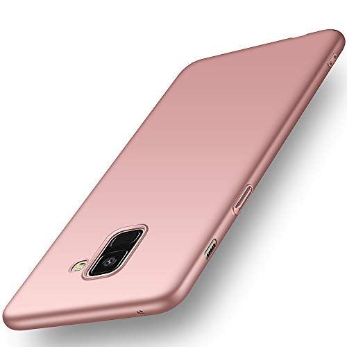Avalri Cover Samsung A8 2018, Minimalista Design Ultra Sottile Case Rigida in PC Antiurto Anti-Graffio Custodia per Samsung Galaxy A8 2018 (Oro Rosa Liscio)