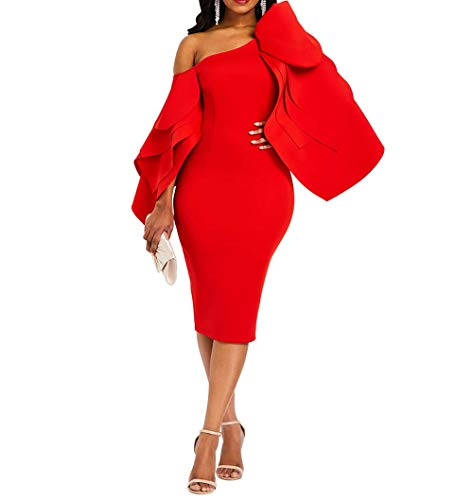 VERWIN Bodycon Dress for Woman Long Sleeve Knee-Length Ruffle Sleeve Off Shoulder Evening Dress XL Red