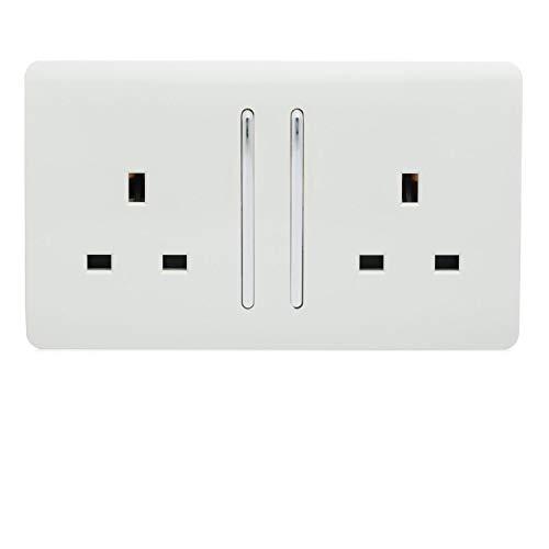 Trendi Switch 2 Gang Artistic Modern Lucido 13 Amp Elettrico Long Switched Plug Socket Bianco Lucido ART-SKT213LWH