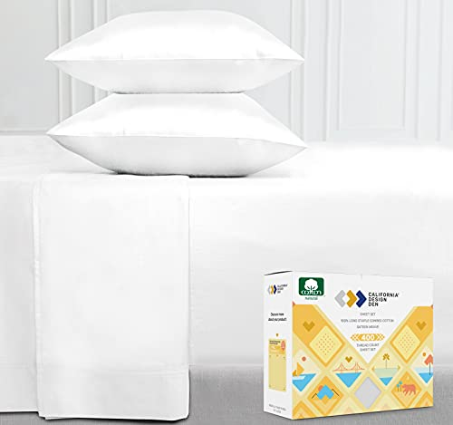 400-Thread-Count 100% Cotton Sheet Pure White Queen-Sheets Set,...