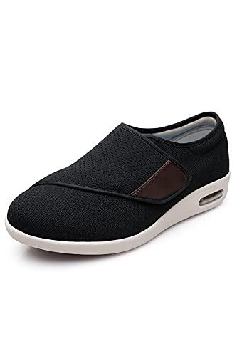 YH SUCED Women's Diabetic Shoes Width X-Wide Velcro Shoe for Elderly Women Adjustable Closure Breathable Lightweight Non Slip for Swollen Feet Edema Widening Walking Shoes Black 8