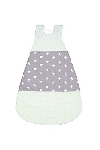 ULLENBOOM Saco de dormir de bebé para verano Menta Gris - Saco de dormir de bebé para el verano hecho de algodón, cómodo saco de dormir para bebés, tamaño: 68 a 74